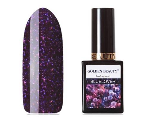 Гель-лак Bluesky Golden Beauty Bluelover №09 (Красновато-фиолетовый с золотистыми блестками голографик)