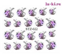 Слайдер для дизайна ногтей STZ-022 (Фиолетовые цветы)
