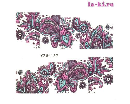 Слайдер для дизайна ногтей YZW-137 (Узоры-цветы)