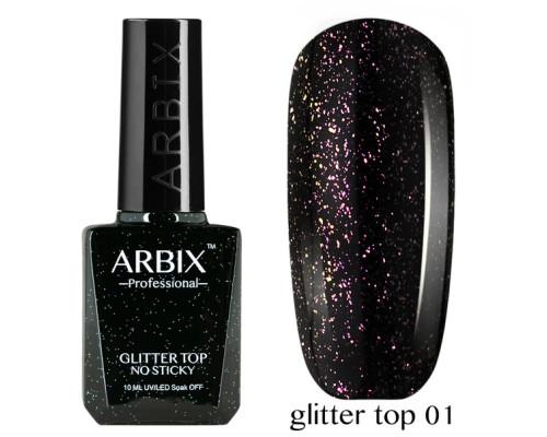 Топовое покрытие Arbix Glitter Top No Sticky №01 (с шиммером, без липкого слоя)
