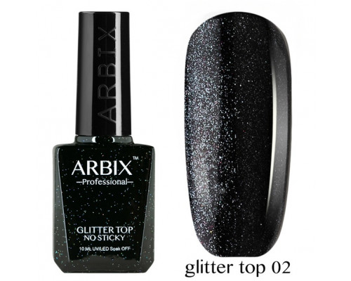 Топовое покрытие Arbix Glitter Top No Sticky №02 (с шиммером, без липкого слоя)