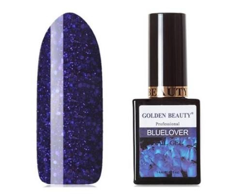 Гель-лак Bluesky Golden Beauty Bluelover №12 (Глубокий синий с синими блестками и лиловыми микроблестками)