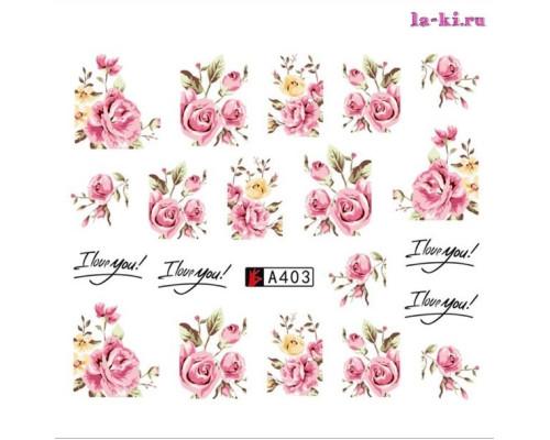 Слайдер для дизайна ногтей A403 (Розы)