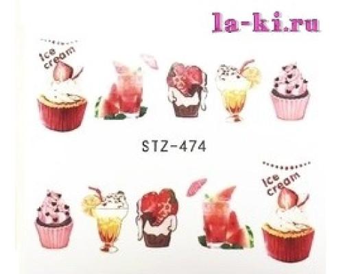 Слайдер для дизайна ногтей Ice Cream STZ-474 (Пирожные-коктейли)