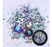 Стразы для ногтей 3D Металл-Камень (Бирюзовые)
