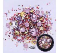 Стразы для ногтей 3D Металл-Камень (Розовые)