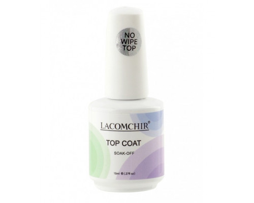 Верхнее покрытие (Топ) Lacomchir No Wipe Top Coat SOAK-OOf без липкого слоя 15 мл